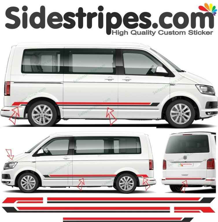 VW BUS T4 T5 T6 Edition - Bicolor - Side Stripes Graphics Decals Sticker Kit - N° 9074