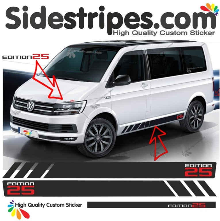 VW BUS T4 T5 T6 Edition 25 - Bicolor - Side Stripes Graphics Decals Sticker Kit - N° 9570