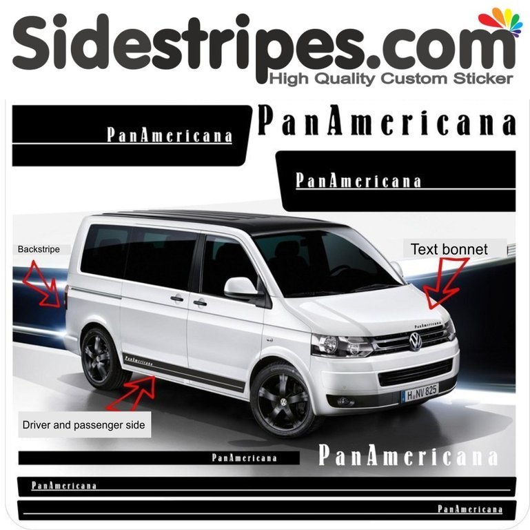 VW T6  Panamericana EDITION 2016 - side stripe sticker decal  complete set edition look - N° 9499
