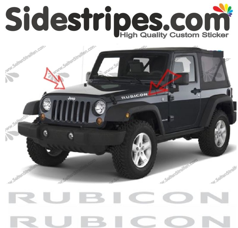 Jeep Wrangler - 2 x Rubicon Logo - Graphics Decals Sticker Kit - N° 9926