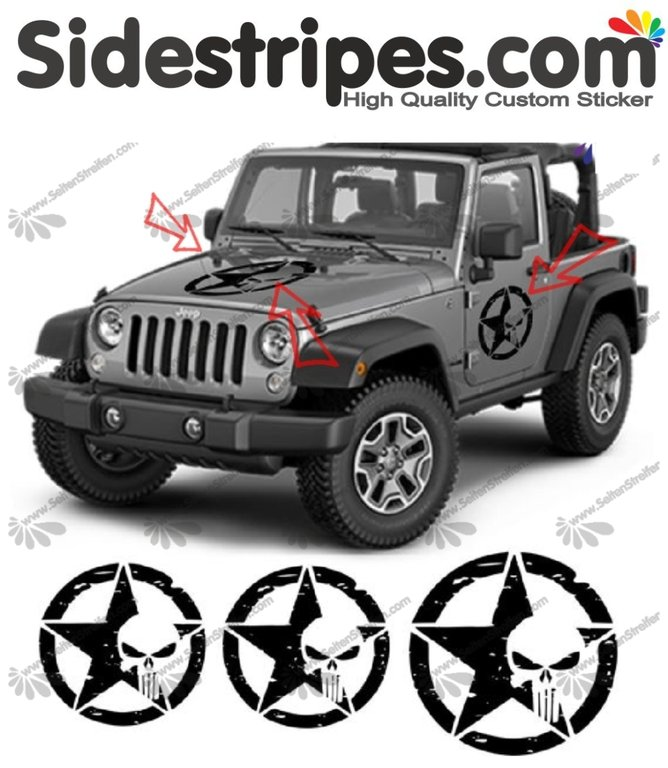Jeep Wrangler - 3 x Punisher - adesivi laterali adesive auto sticker - N° 9925