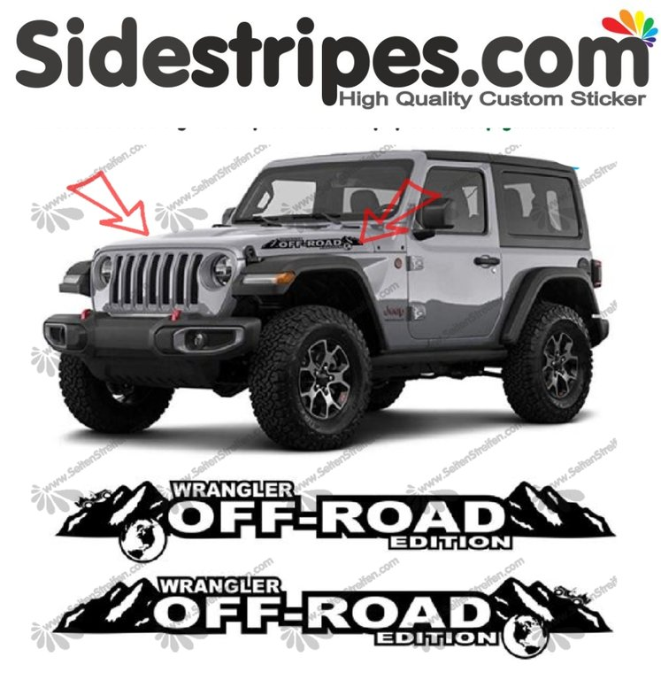 Jeep Wrangler - Off-Road Edition - adesivi laterali adesive auto sticker - N° 9924
