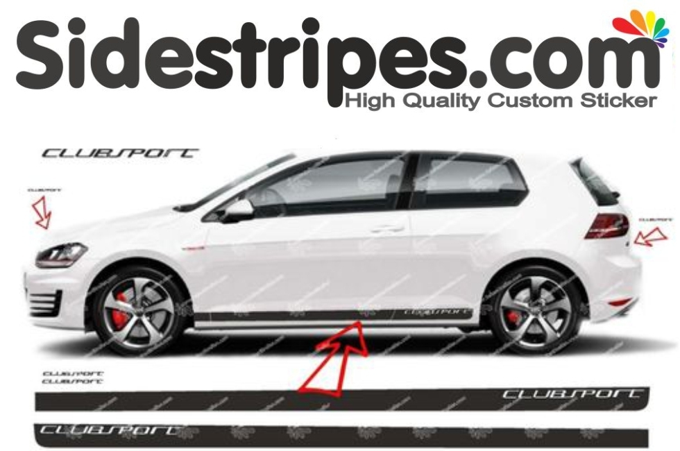 VW Golf - Clubsport Edition - adesivi laterali adesive auto sticker - N° 8499