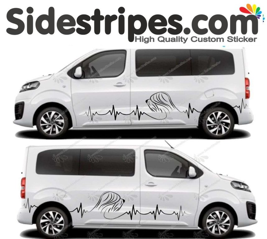 Toyota ProAce & Verso - Briard Collie - Side Stripes Graphics Decals Sticker Kit - N° U5024