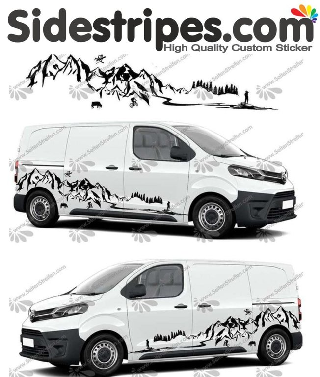 Toyota ProAce & Verso - Mountains Stand up Paddle Edition - Graphics Decals Sticker Kit - N° U5011