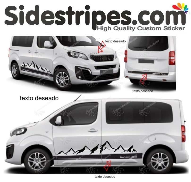 Vauxhall Zafira Life & Vivaro - Mountains Edition Set Your Text - Decals Sticker Kit - N° 9003