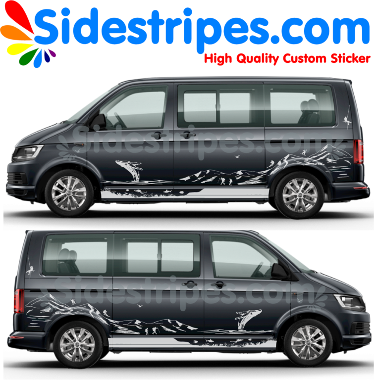 VW T4 T5 T6 Mountains Whale Diver - Graphics Decals Sticker Kit - N° U8894